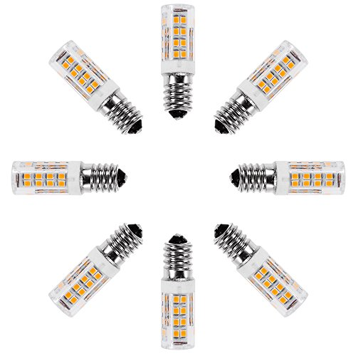 Anpro 8pcs E14 5W Tornillo blanco cálido LED Lámparas, 360 ° Ángulo de haz, no regulable, 360lm