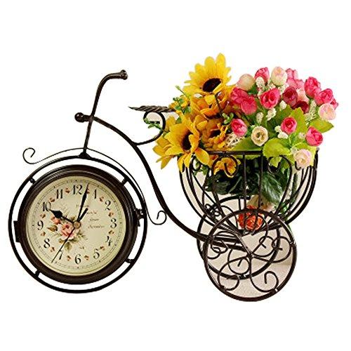 S.W.H Novedad Creativo Arte de Hierro Retro de Doble Cara Triciclo Cesta de Flores Reloj de Mesa Bronce