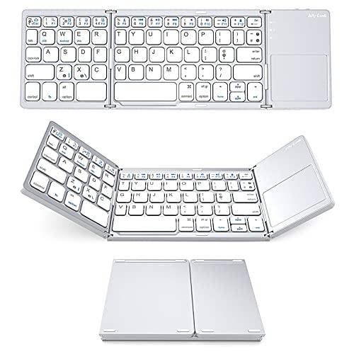 LJSF Teclado Plegable, Teclado Inalámbrico Portátil Ultrafino, Teclado Bluetooth, Teclado Compacto con Touchpad Multitoque Integrado, Compatible con Tablet y Otros Dispositivos,Set1