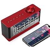 LMCLJJ Bluetooth inalámbrico portátil Altavoces de Alarma del Reloj con visualización de Radio FM con Estilo LED Digital Mirror Temporizador con función de repetición Compatible