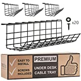 Under Desk Cable Management Tray - Cable Organizer for Wire Management. Metal Wire Cable Tray for Office and...