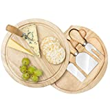 CUQOO Cheese Board Set with Round Wooden Board with Integrated Slide Out Knife Compartment, 3 Stainless Steel Knives and Fork, Fruit, Cheese & Meats Food Board, Suitable for Picnics Parties Gift Set