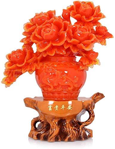 Desktop-Skulptur Reichtum und Frieden Pfingstrose Vase Dekoration Kunst Statue Handicraft Modell Skulptur Kreative Wohnzimmer Dekoration Zubehör Geschenk Figuren
