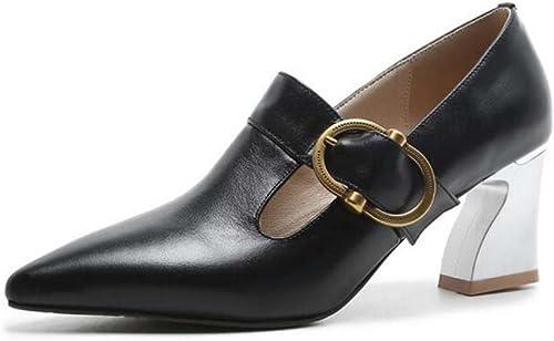 Les Femmes Les Chaussures à Talons Hauts Coupe-Bas Mode Confort Boucle Sandales Noir Crémeux-Blanc Taille 34-39