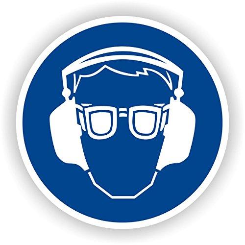Augen- und Gehörschutz benutzen / Gebotszeichen / GE-23 / Sicherheitszeichen / Piktogramme / DIN EN ISO 7010 (5cm)