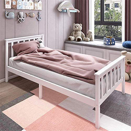 Single Bed White 3ft Solid Pine Wooden Bed Frame for Adults, Kids Fit 190x135cm Mattress