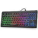 Rii Gaming Tastatur USB, Regenbogen beleuchtete Tastatur, PC Tastatur LED 88 Tasten, 19 Tasten Anti- Ghosting, Wired Keyboard ideal für Gaming und Büro, Schwarz(DE-Layout)