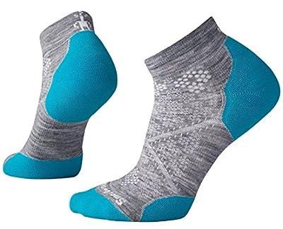 Smartwool PhD Outdoor Light Low Cut Socks - Women's Run Elite Wool Performance Sock Medium Light Gray-capri Blue