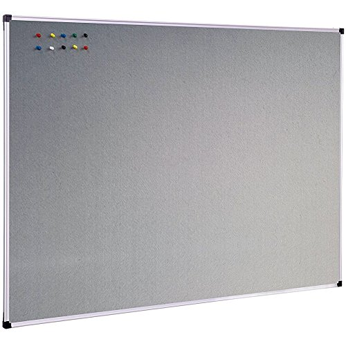 XBoard Large Grey Fabric Bulletin Board 48 x 36 inch Wall Mounted Fabric Message Notice Board Sliver Aluminum Framed for Home Office School