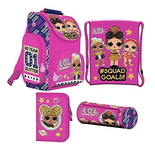 LOL L.O.L Surprise 4 Teile Set Schulranzen Schulrucksack Tornister RANZEN inklusive Sticker von kids4shop Tasche Puppen Motiv