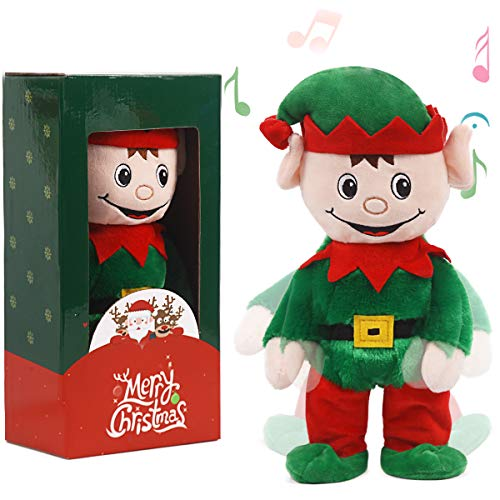 ARELUX Christmas Animated Toy 14' , Singing Dancing Green Elf Electric Toy ,Xmas Musical Gift Decorations