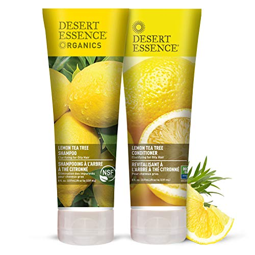 Desert Essence Lemon Tea Tree Shampoo & Conditioner Bundle - 8 Fl Ounce - Clarifying For Oily Hair - Essential Oils - Strengthen & Protect Hair - Effective Cleansing