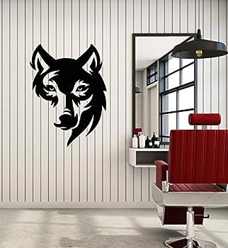 Vinyl Wall Decal Wolf Head Tribal Wild Animal Predator Stickers Mural Large Decor  g4671  Black