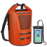 RUNCL Waterproof Dry Bag ANCOHUMA, Dry Compression Sack, Dry Backpack with Waterproof Phone Case - Reinforced Construction, MOLLE System - Kayaking Camping Fishing RV Surfing Rafting (Orange, 10L)