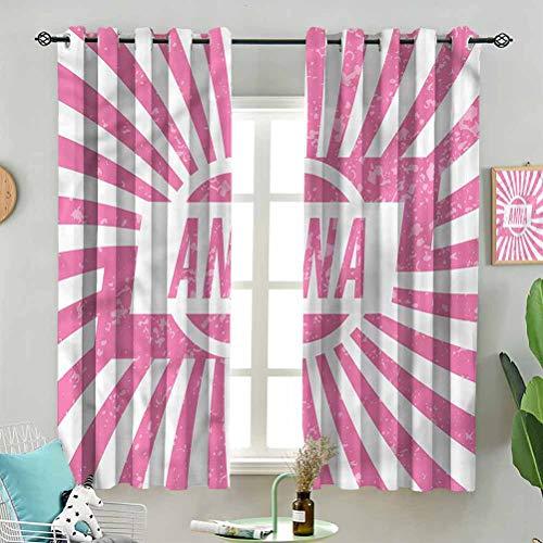 Fashion Design Curtain Drape Retro Style Girls Name W63 x L45 Inch (2 Panels) for kids Room