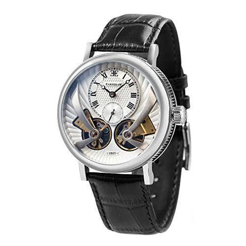 Thomas Earnshaw Beaufort Anatolia ES-8059-01 Montre automatique mécanique pour homme Avec cadran argenté à affichage analogique classique et bracelet en cuir noir