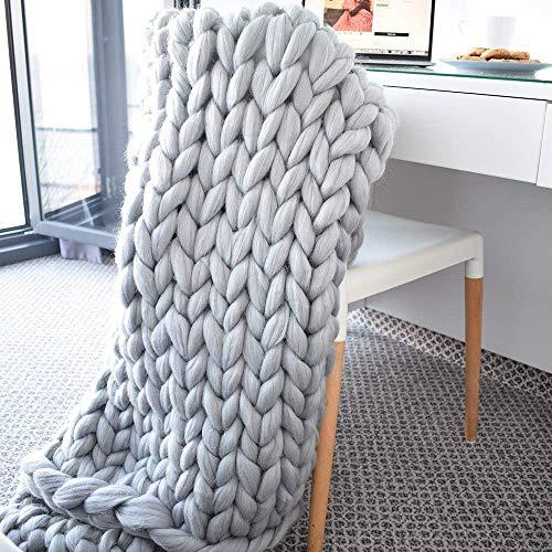 MANG Couverture Tricotée À La Main Chunky Gros Plaid pour Lit/Chaise/canapé/Animalerie, Gris, Décoration De La Maison, Douce Et Confortable
