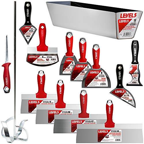 Deluxe Drywall Hand Tool Set, Stainless Steel - LEVEL5   Pro-Grade   Taping Finishing Tool Blades, Knives, Pan, Mixer, Saw   Sheetrock Gyprock Plasterboard  5-609