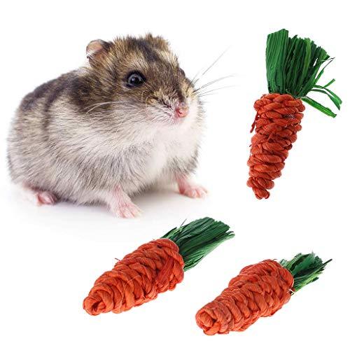 Jiamins Spielzeug Karotte Spielzeug Häschen Hamster Zubehör zum Kauen, 3 Stück