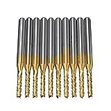 KEKEYANG Herramientas 10pcs 1.5mm Consejos de 1/8 de Pulgada Mango de Metal Duro Molino de Extremo pedacitos del Grabado del CNC for PCB Rotary Rebabas Broca
