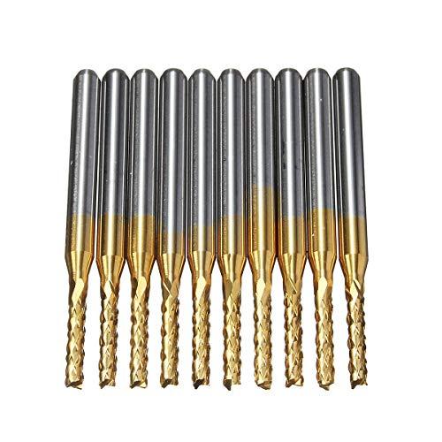 MOZUSA 10pcs 1.5mm Consejos de 1/8 de Pulgada Mango de Metal Duro Molino de Extremo pedacitos del Grabado del CNC for PCB Rotary Rebabas Herramientas