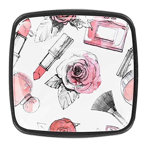 Perfumes con lápiz labial y cepillo de maquillaje, pomos de cajón, tiradores de cristal, tiradores de gabinete con tornillos para gabinete, hogar, oficina, armario (4 piezas)