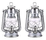 ヴィンテージ灯油ランタンランプ ウィックオイルランプ家の装飾やアウトドアキャンプ用の灯油ディーゼルを燃料とする野生の非常灯, Pack of 2 Pieces (19cm,silver/silver)
