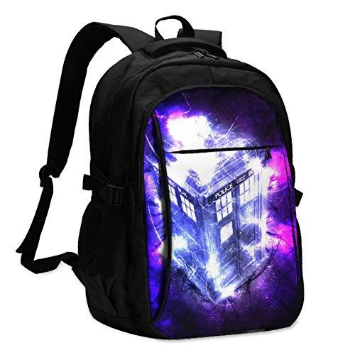 Tardis Zeit- und Relative Dimensionen In Space Doctor Laptop-Rucksack mit USB-Lade- und Kopfhöreranschluss, große leichte Tasche für Schule/Arbeit/Reisen.