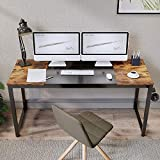 Aclumsy Computer Desk 63' Home Office Writing Study Desk, PC Laptop Notebook Study Writing Table with Thick Metal Leg, Simple Industrial Style Mid-Century Retro, Brown and Black