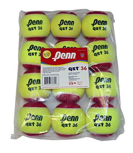 Penn QST 36 Tennis Balls - Youth Felt Red Tennis Balls for Beginners, 12 Ball Polybag thumbnail image