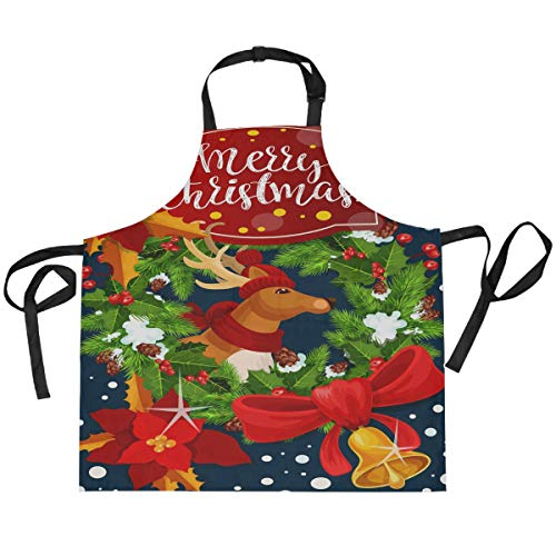 ALARGE Apron Christmas Santa Reindeer Bell Adjustable Neck Strap Apron with 2 Pockets Kitchen Cooking Gardening Aprons for Women Men Chef Waitress