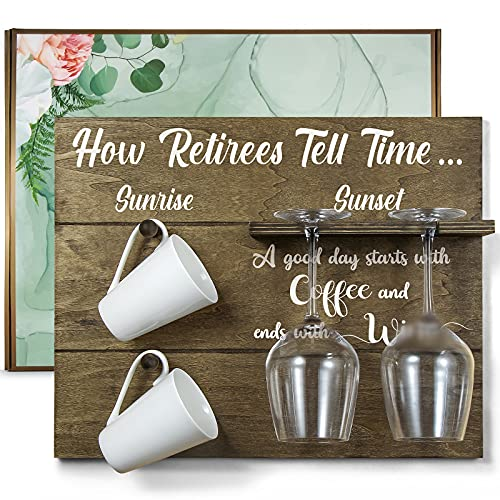 THYGIFTREE Happy Retirement Gifts for Women, Funny Retired Gifts for Men from Family Friends 'How Retirees Tell Time' Customized Gift Idea for Coworkers