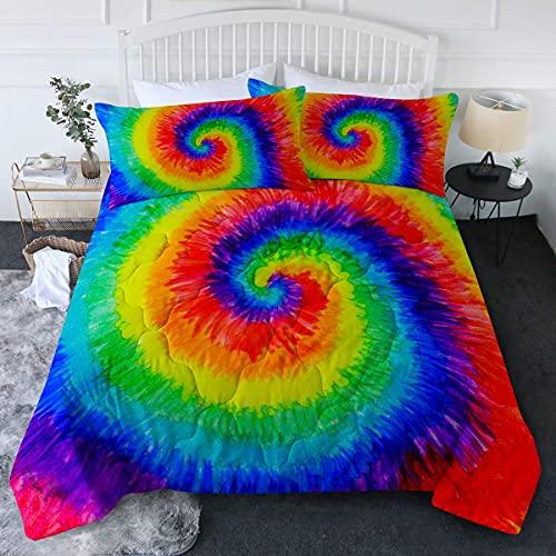 Juego de edredón Spiral Tye Dye Pattern 3pc Edredón Tamaño Completo / Queen Juegos de Cama de Arco Iris con 2 Fundas de Almohada Suave Cómodo Lavable a máquina 135 * 200cm 2