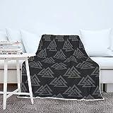 Manta de runas vikingas, suave y cálida, manta de sofá, manta de dormir, manta de forro polar, mullida, para sofá, cama, color blanco, 130 x 150 cm