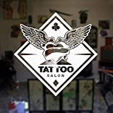 Modeganqingg Tattoo Studio Applique ali Logo Tattoo Salon Vinyl wandaufkleber Fenster Aufkleber wanddekoration wasserdicht wandbild weiß 57x57cm