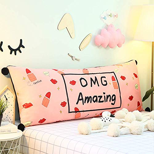 GJJSZ Cartoon Bed Backrest Cushion,large Cute Soft Backing Block,soft Bedside Waist Pad Crystal Velvet Throw Pillow Upholstered-k 180x50cm(71x20inch)