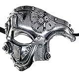 Ubauta Steam Punk Phantom of The Opera Vintage Masquerade Venetian Luxury Men Face Mask/Party/Fancy Ball/Prom/Mardi Gras/Wedding/Wall Decoration (Silver)