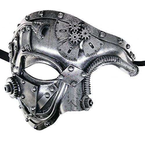 Steam Punk Phantom der Oper Vintage Maskerade venezianischen Luxus Männer Gesichtsmaske / Party / Fancy Ball / Prom / Karneval / Hochzeit / Wanddekoration (Silber)