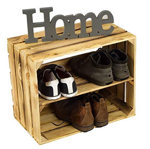 Caisse en bois de pommier flambé avec planche intermédiaire supplémentaire, pour ranger les chaussures ou les livres