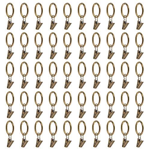 ATPWONZ 50 Stück Metall Draperie Ringe mit Clips Gardinenstange Clips Gardinenringe mit Clips Dekorative Draperie Ringe mit Gardinenclips Vorhang Clip Ringe Drapery Clip Ringe - Bronze