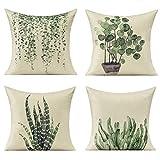 All Smiles Plantas Fundas de Cojines para Exteriores Decorativo Verde Jade 45 * 45CM,4PC para Muebles de Sofá de Patio