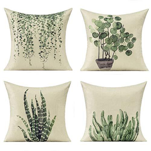 All Smiles Bonsái Plante Exterior Fundas de Cojines y Almohadas Plantas para Hogar Exteriores Decorativos Verde 45x45CM, 4PC para Muebles de Sofá de Patio