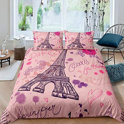 Girly Eiffel Tower Duvet Cover Paris Juego de Cama 260x220cm para niños Niños Paris Cityscape Funda de edredón Estilo romántico francés Moderno Rosa 3 Piezas Cremallera