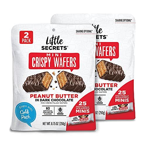 Little Secrets Dark Chocolate & Peanut Butter Crispy Mini Wafers | No Artificial Flavors, Corn Syrup or Hydrogenated Oils | Fair Trade Certified & All Natural | 25ct Individually Wrapped