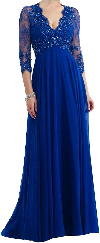 LISA.MOON Women's V Neck A line Zipper Sheer Long Sleeve Floor Length Prom Dress