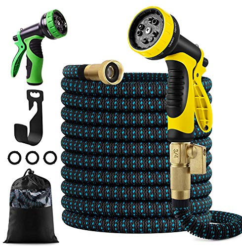 """FIENVO 100ft Upgraded Expandable Durable No-Kink Flexible Garden Water Hose Set with Extra Strength Fabric Triple Layer Latex Core,3/4"""" Solid Brass Connectors 9 Function Spray Hose Nozzle"""