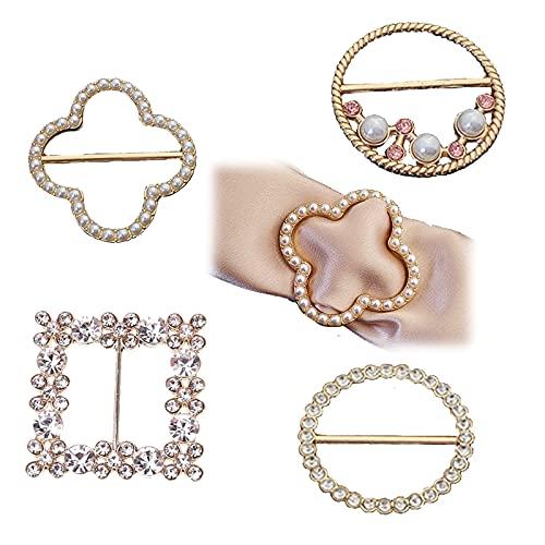 Pañuelos Cuello Hebillas, 4 Piezas Elegante Bufanda Multifuncional Metal Diamantes de Imitación...