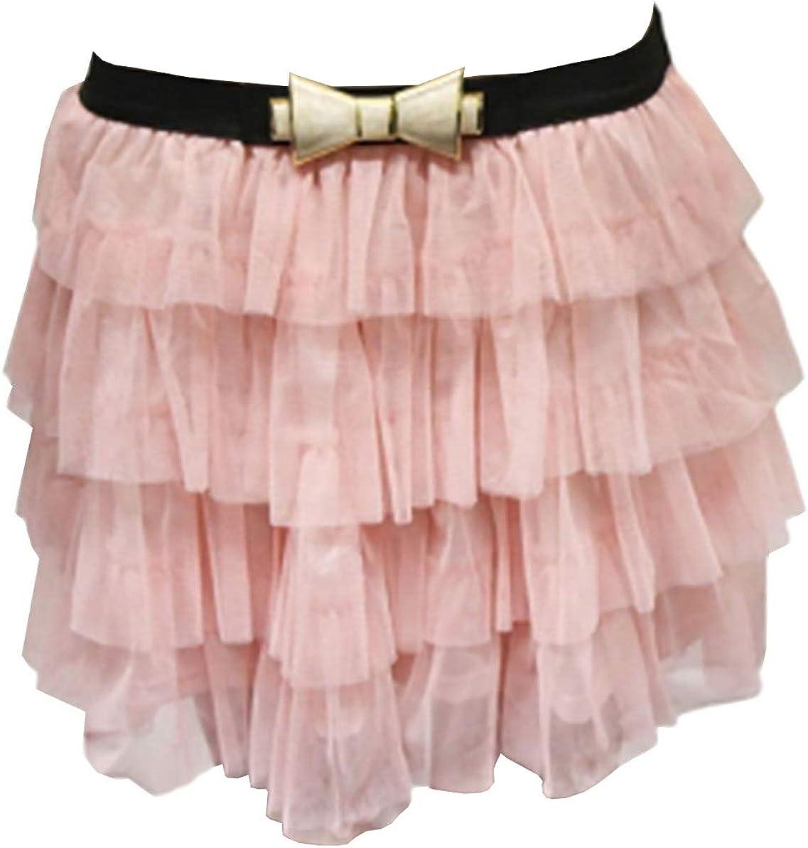 Rimi Hanger Womens Tiered 2 Layers Bow Belt Mesh Tutu Skirt Ladies Fancy Casual Wear Skirt US 2-10
