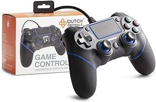 DUTCH ORIGINALS PS4 Controller Dual Vibration, Gaming Controller per PS4, PC, PS3, Gamepad con joystick in nero e blu, cav...