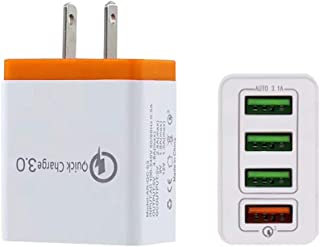 Migugu Quick Charge 3.0 43.5W 4-Port USB Wall Charger, PowerPort Speed 4 for Galaxy S10/S9/S8/edge/plus, Note 8/7, LG G6/G5, HTC, Nexus 9, for iPhone XS/Max/XR/X/8/Plus, iPad, and More (Orange, US)